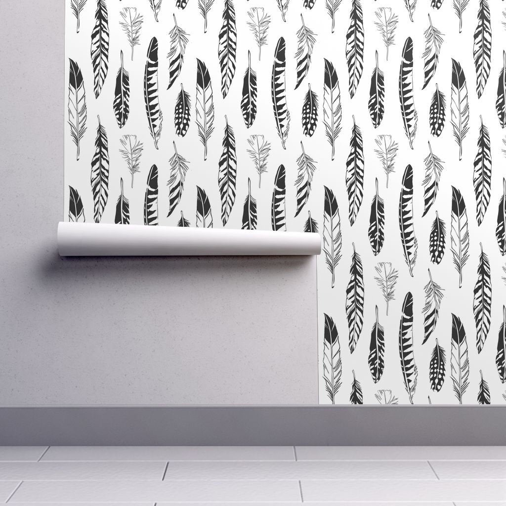 Feather Wallpaper Feathers By Cherii Aztec Boho Bird Black Etsy 1024x1024