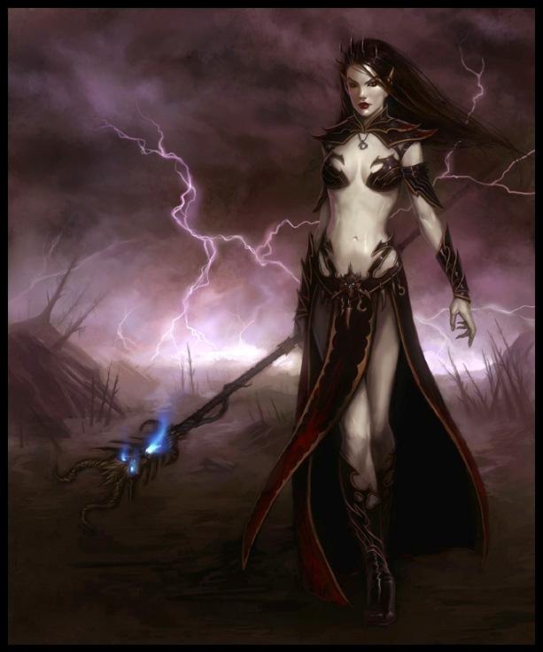 Dark Elf Sorceress by daarken 613x735