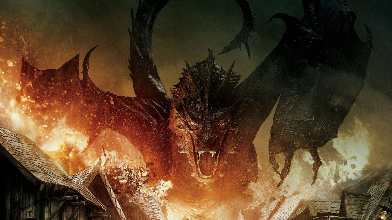 The Hobbit Battle Of Five Armies Dragon HD Wallpaper 1366x768