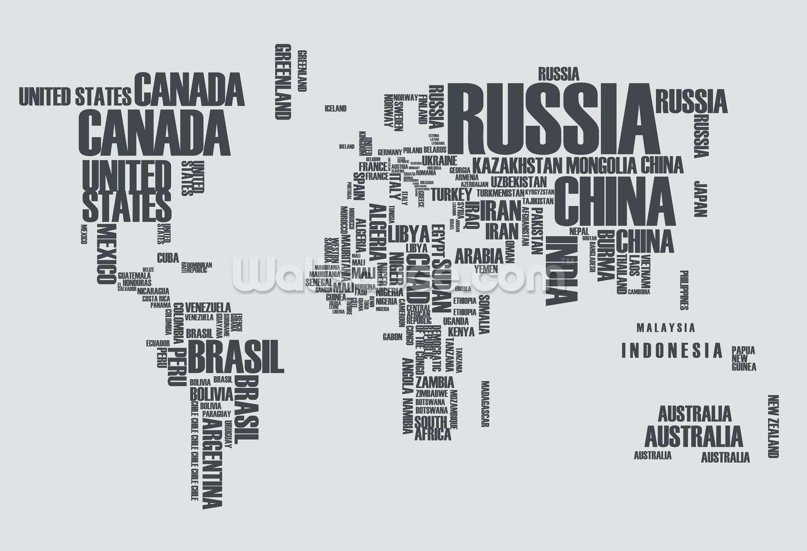 Free Download World Map Word Cloud Wallpaper Mural Wallsauce Us