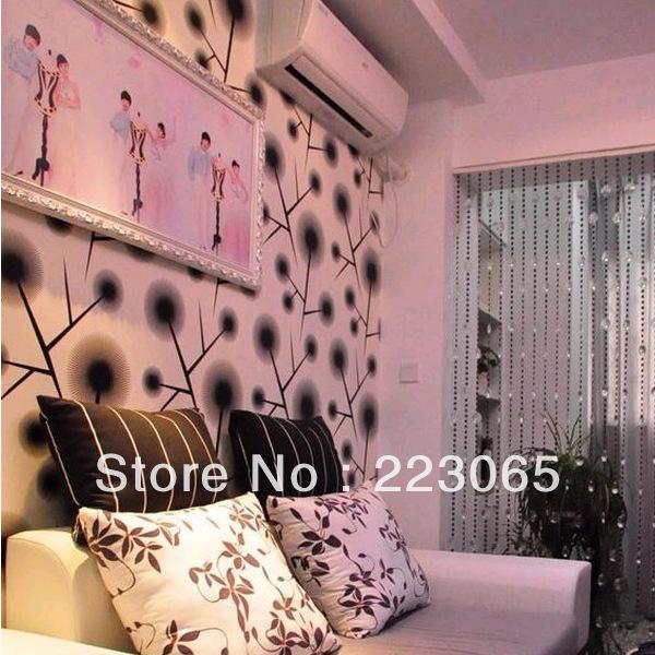 Pvc wallpaper modern brief Emboss black and white dandelion wallpaper 600x600