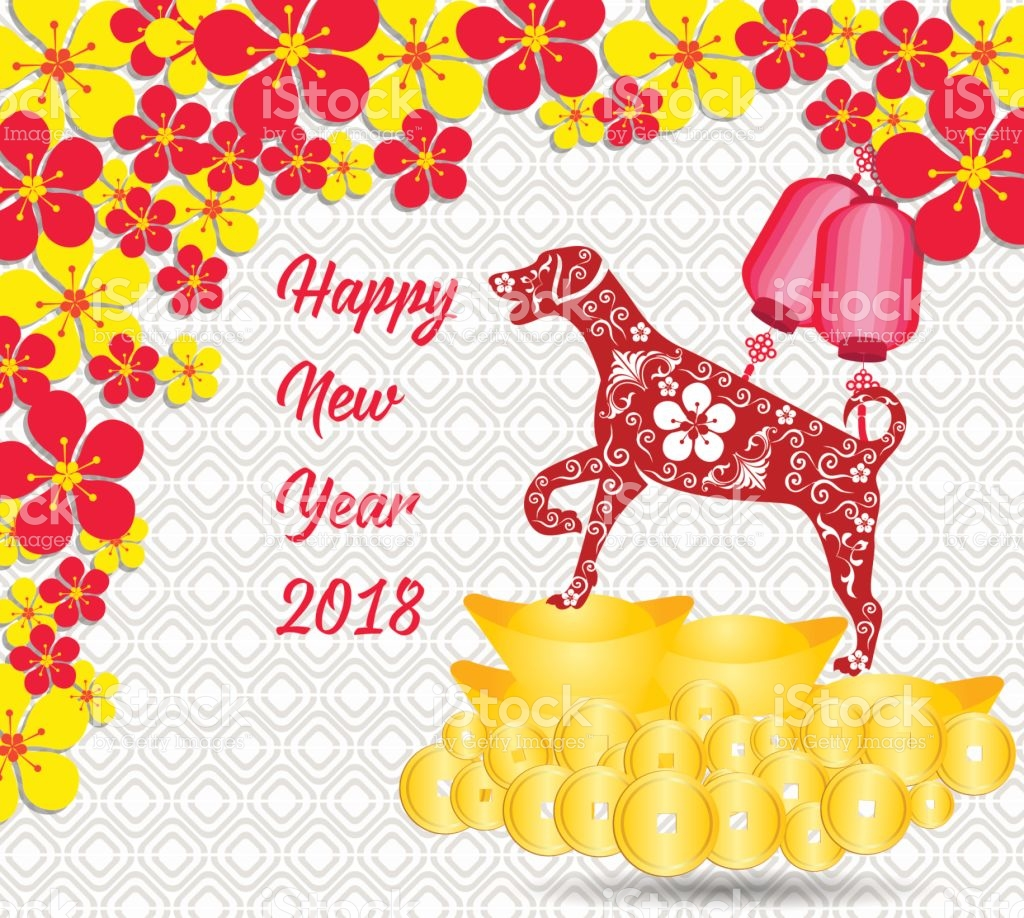 Happy Chinese New Year 2018 Card Is Gold Coins Money Year 1024x918
