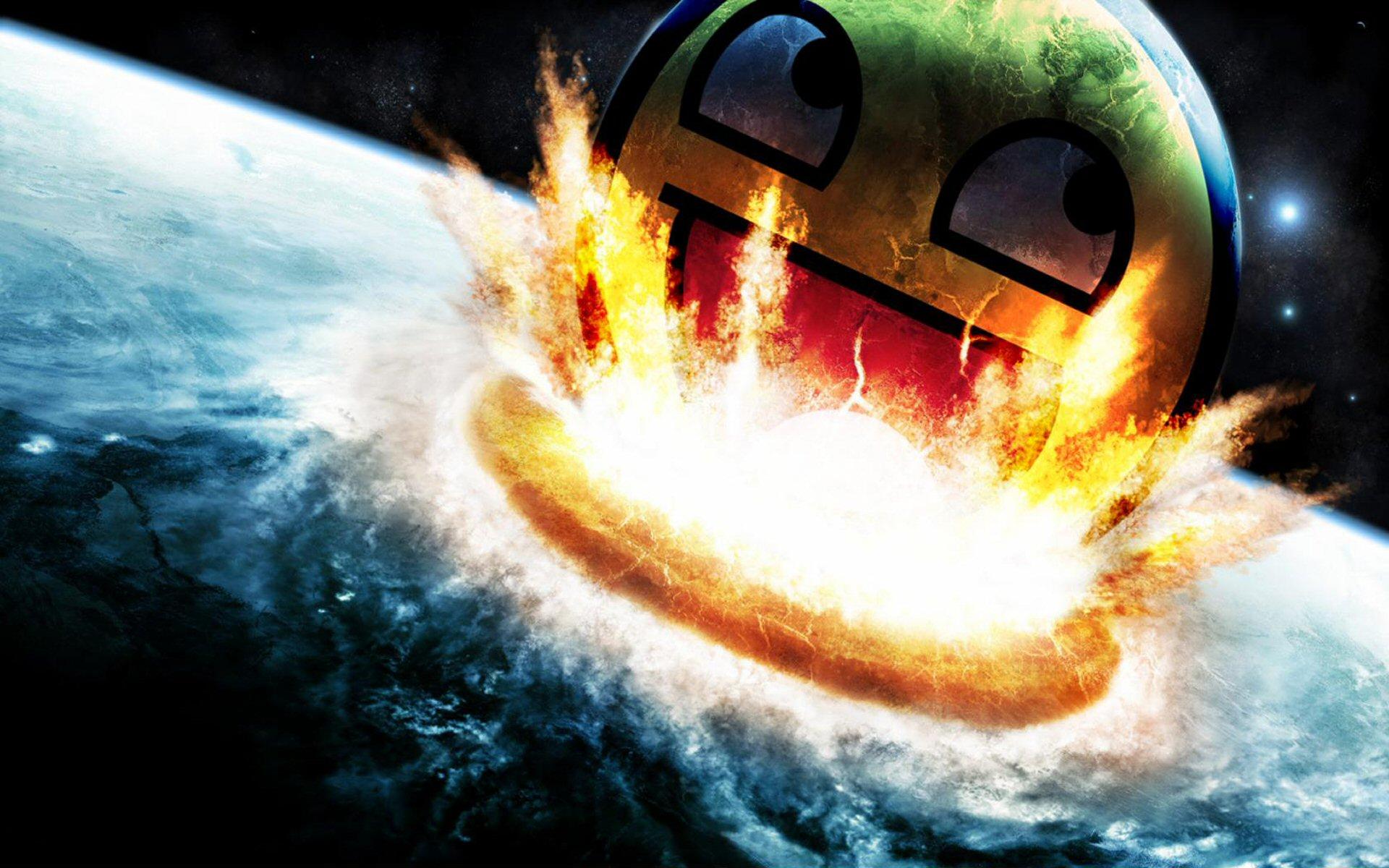 Smiley Face Crashing Into Earth wallpaper   903224 1920x1200