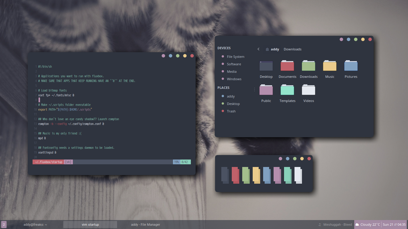 Fluxbox] Trying out a dark theme unixporn 1366x768