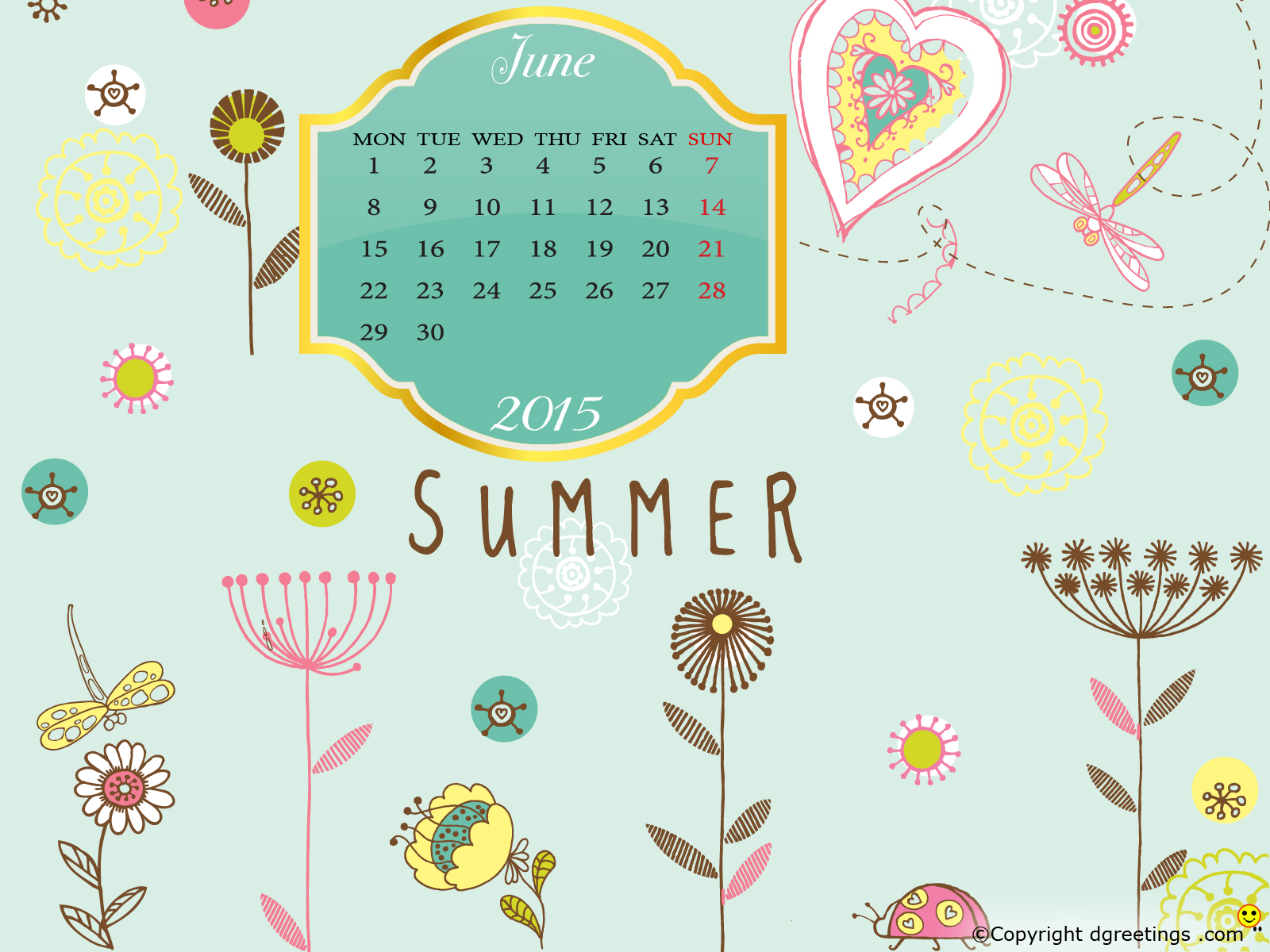 June Calendar wallpapersdgreetingscom 1600x1200
