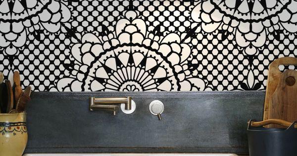 kitchenwalls backsplash waterproof wallpaper flower Abode 600x315