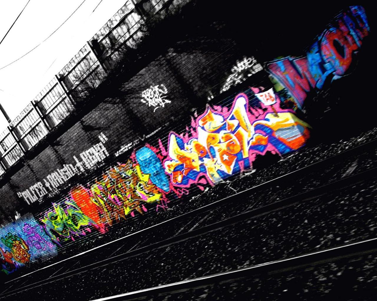 Color in the black graffiti urban art wallpaper 1280x1024