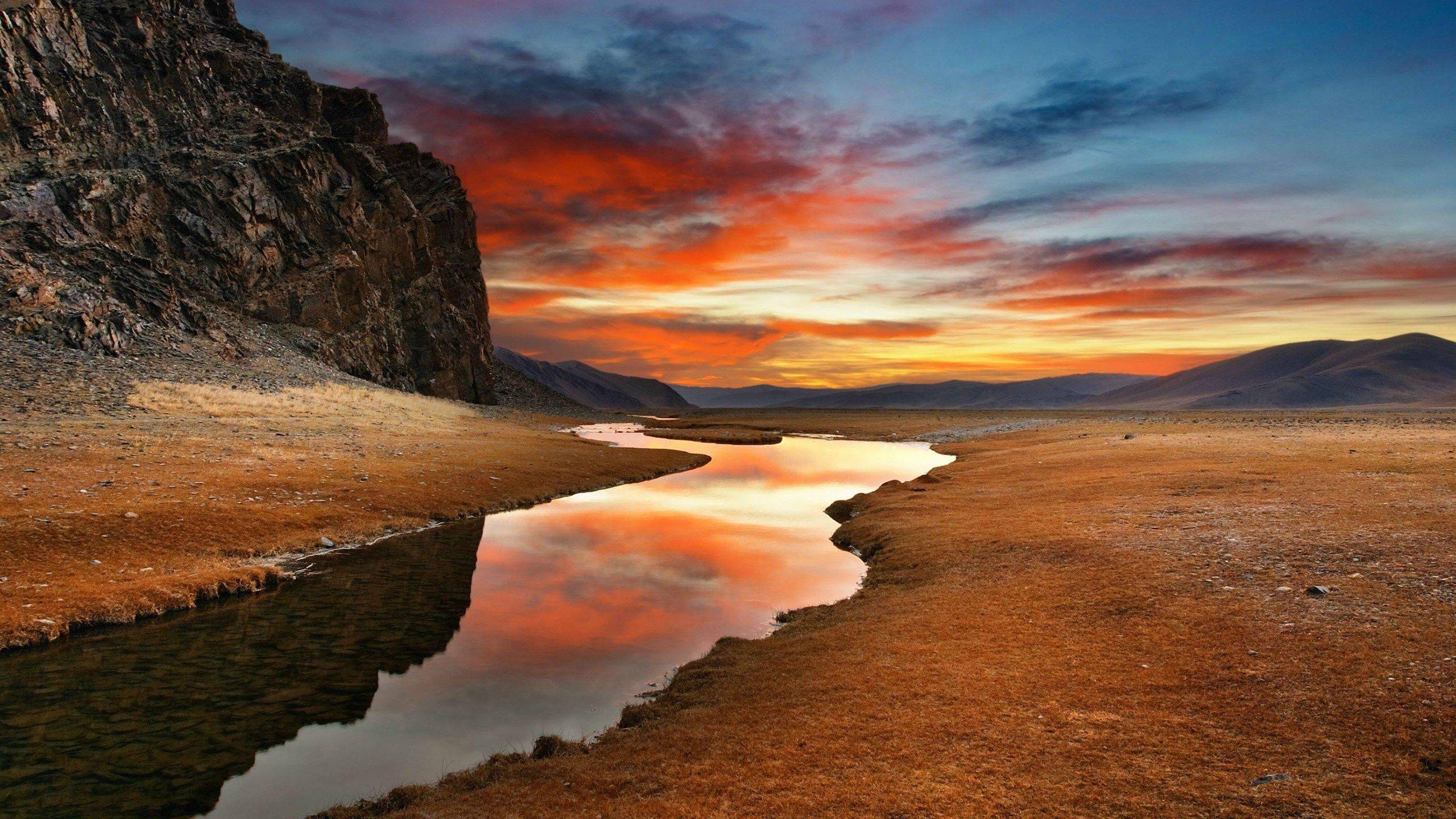 mountain nature landscape cloud lake tree reflection river rock hd 4k 2560x1440