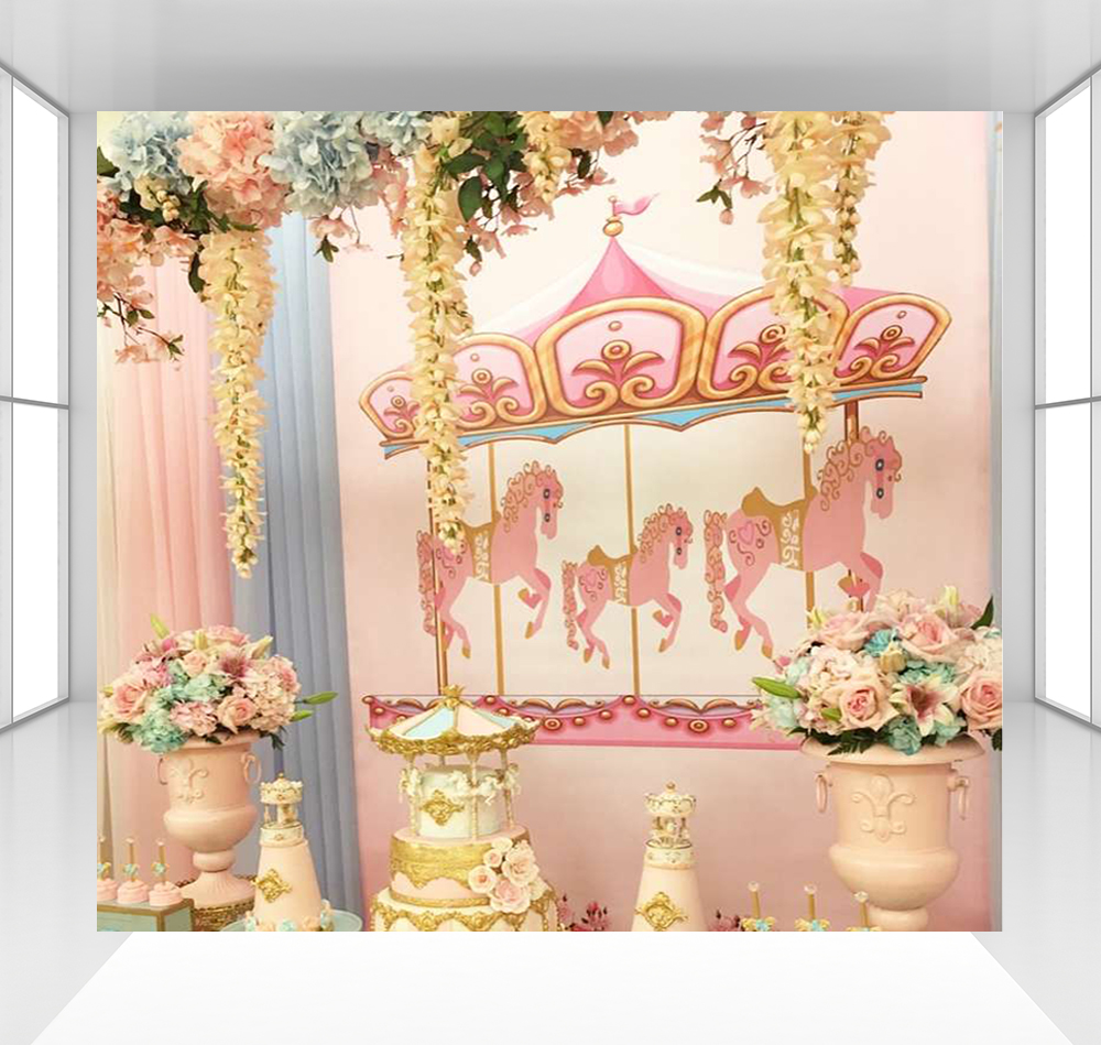 Pink Carousel background photography backdrops baby children 1000x949