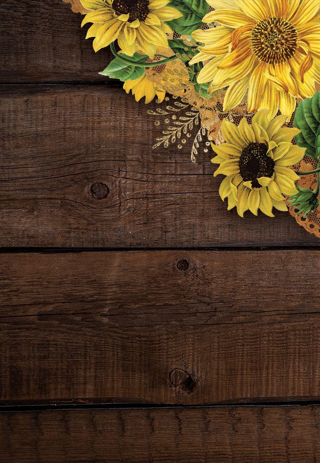 Rustic Sunflowers   Wedding Invitation Template Greetings Island 1080x1560
