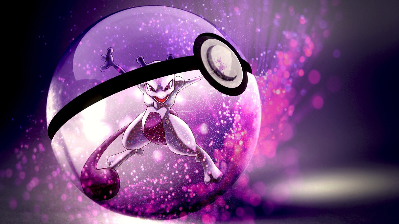 Pokemon Mewtwo Pokeball Anime HD Wallpaper Desktop Background 1600x900
