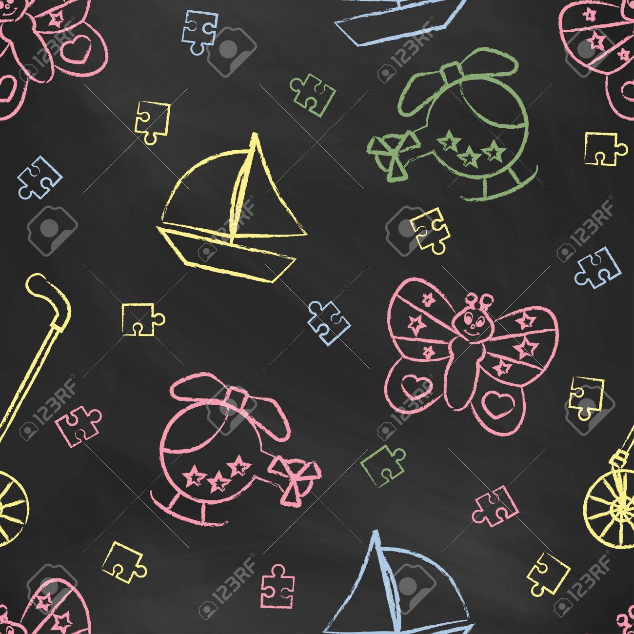 Seamless Pattern With Color Childrens Chalk Drawings Hand drawn 1300x1300