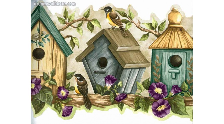 Home Bird Houses Blue Bird Houses Wallpaper Border 900x500
