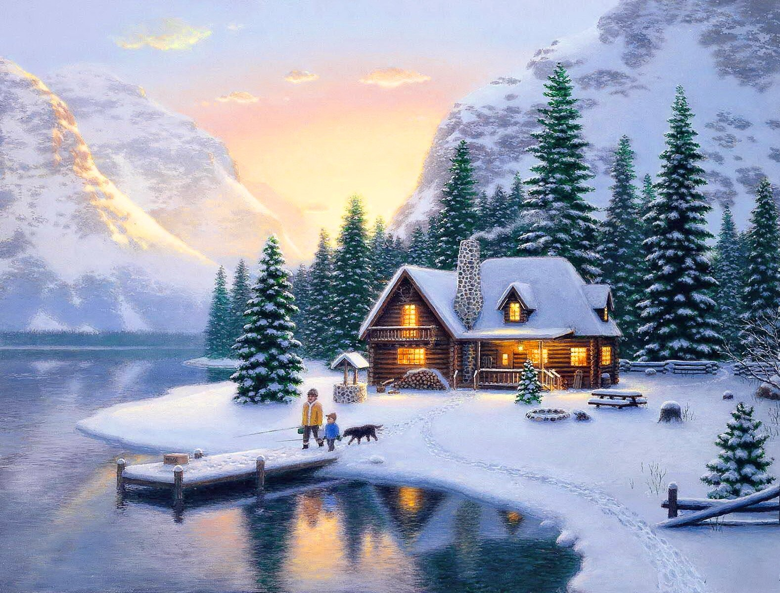 Winter Mountain Cabin Backgrounds Mountain Cottage In 1577x1199