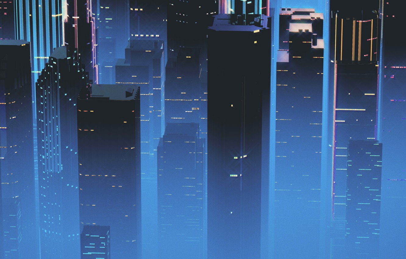 Wallpaper Night Music The city Skyscrapers Background Neon 1332x850