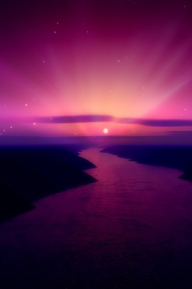 purple and pink sunset wallpaper
