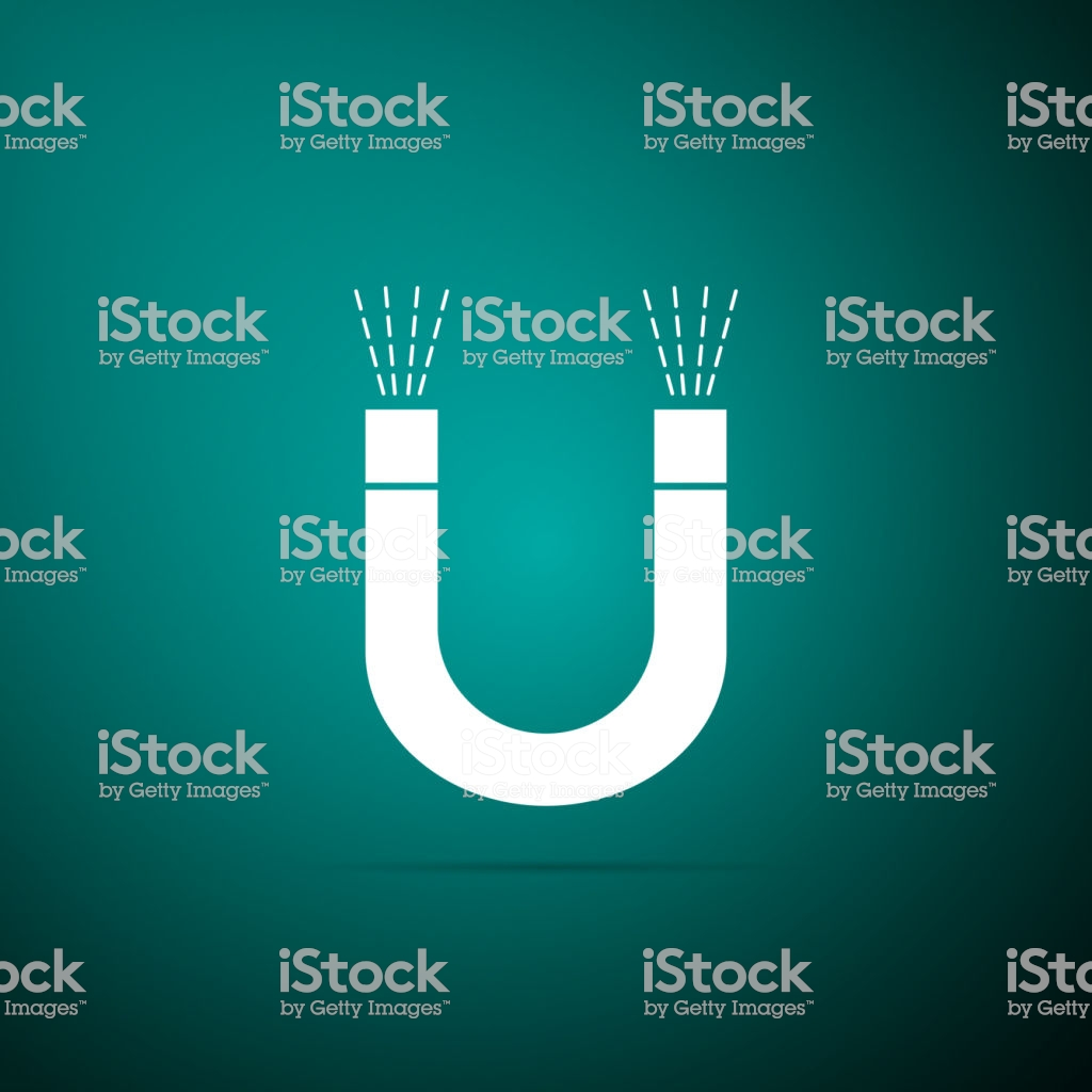 Magnet Icon Isolated On Green Background Horseshoe Magnet 1024x1024