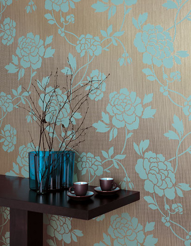 Modern wallpaper Blue brown floral textured metallic print Flickr 389x500