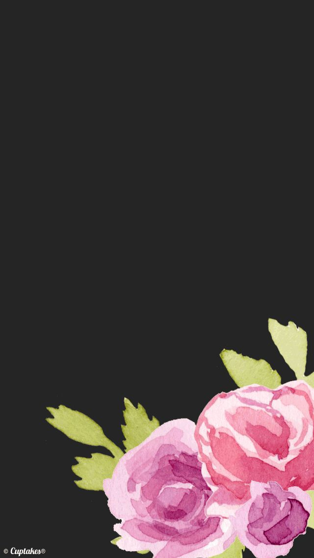 Black pink watercolour floral roses iphone background phone 640x1136