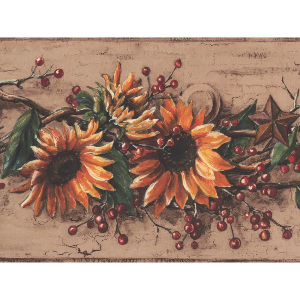 York Wallcoverings Yellow Sunflower Red Berry Iron Star Vintage 1000x1000