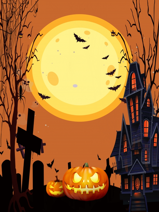Orange Creative Halloween Night Illustration Background Material 640x854