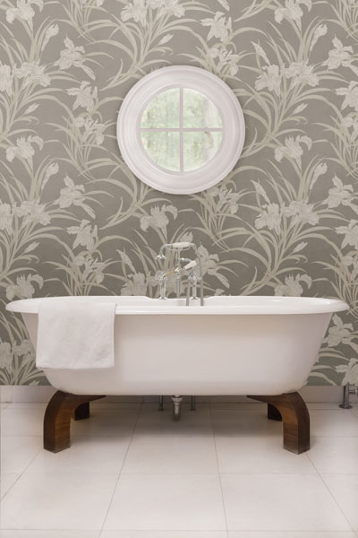 and Peach Lily Floral Bathroom Wallpaper Brewster Wallcovering Blog 400x600