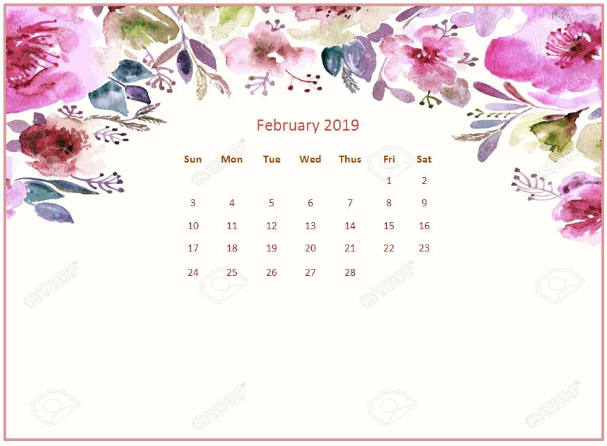 2019 Monthly Floral Calendar Wallpaper 874x642