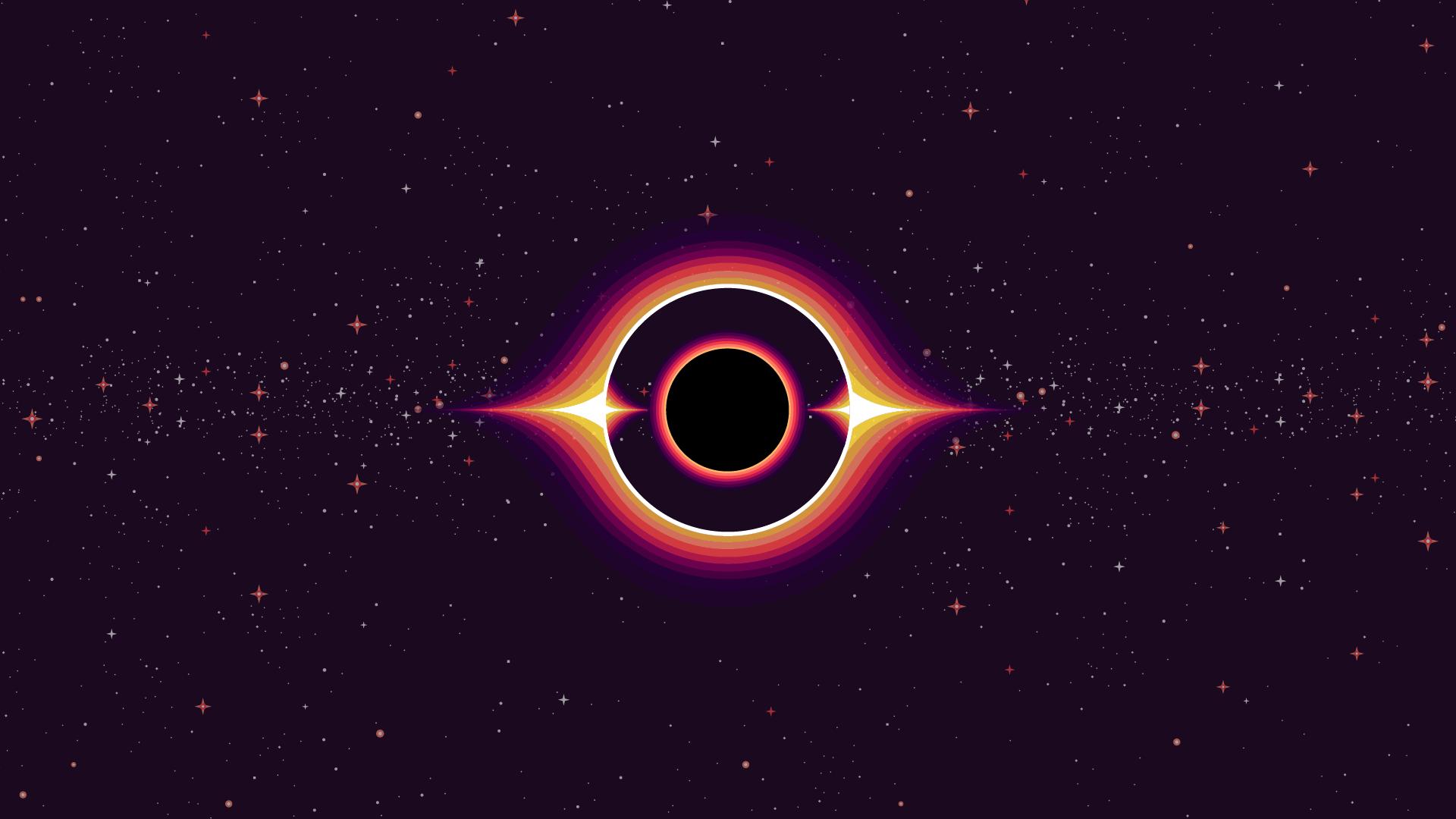 Black hole Kurzgesagt style[1920 x 1080] in 2019 Black hole 1920x1080