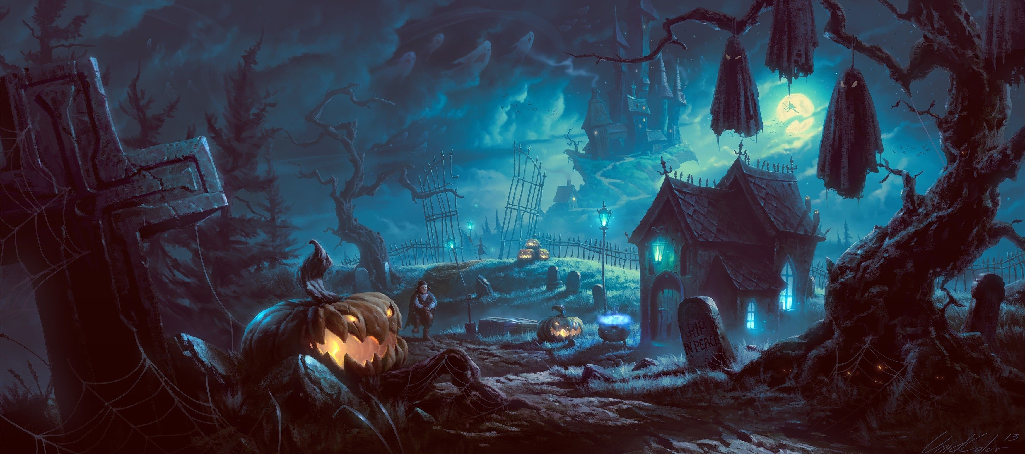 78 Halloween Desktop Wallpapers on WallpaperPlay 3500x1553