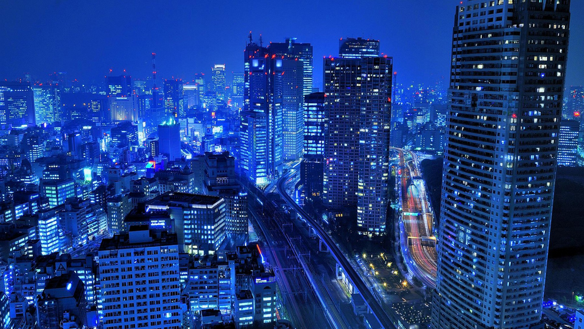 Japan Tokyo cityscapes skyscrapers roads city lights wallpaper 1920x1080