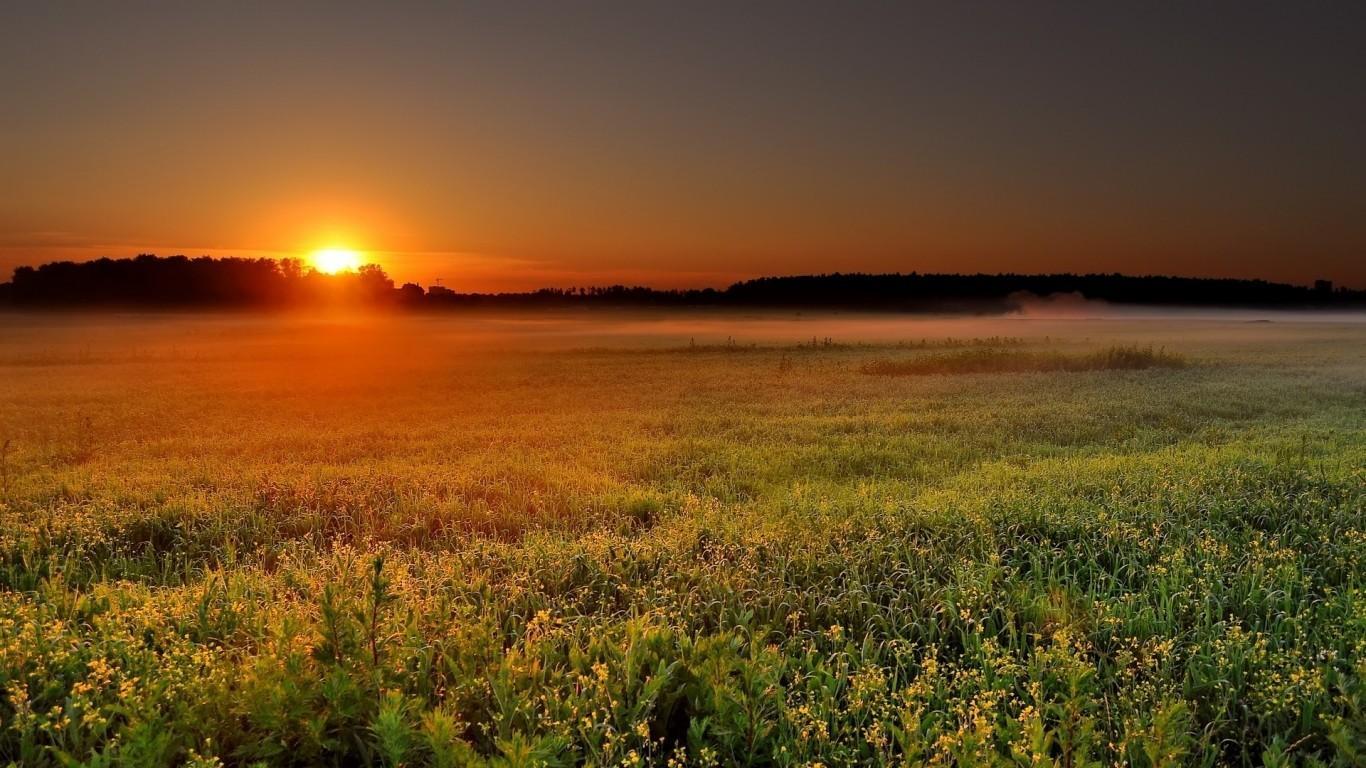 Sunset disk orange sun twilight time of day wallpaper 22109 1366x768