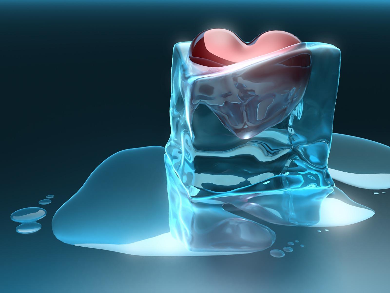 ice 3d wallpaper hd heart melting digital art crystals 1600x1200