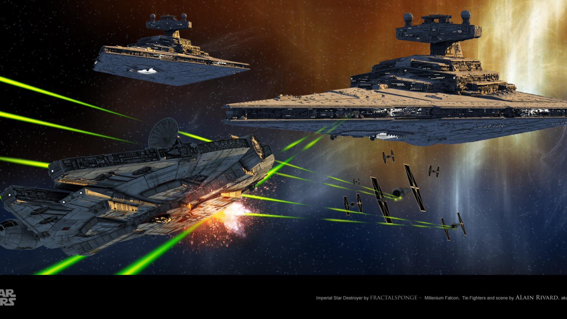 Millennium falcon star destroyer star wars wallpaper HQ WALLPAPER 1920x1080