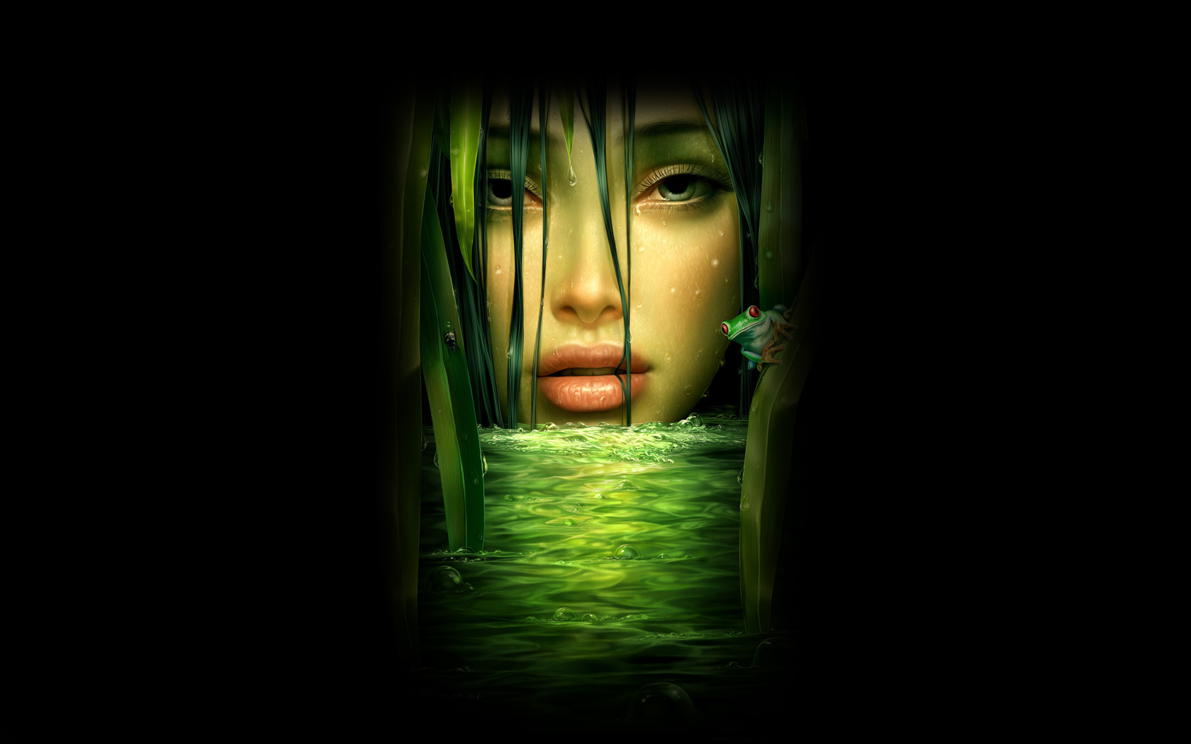 Beautiful Green Girl Face on Black Background   Wallpaper 32818 1680x1050
