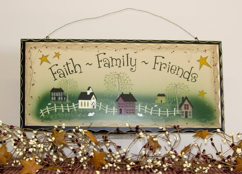 primitive decor Primitive decor wood sign Faith Family Friends 500x359