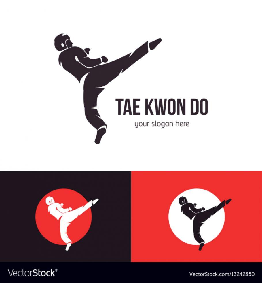 Taekwondo Logo Template Martial Arts Badge Vector Image   Tae Kwon 910x982
