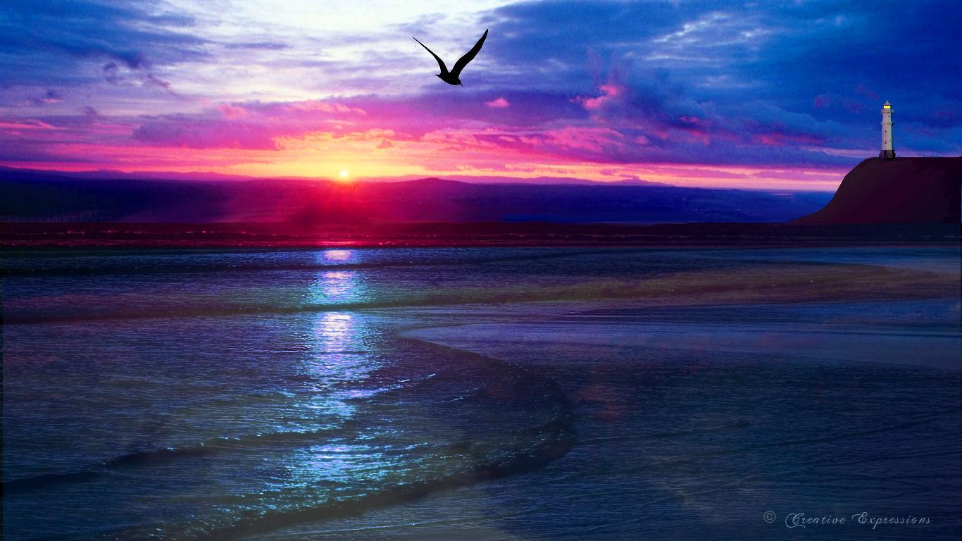 Widescreen Wallpaper] Ocean Sunset   Windows XP Themes Windows Vista 1366x768