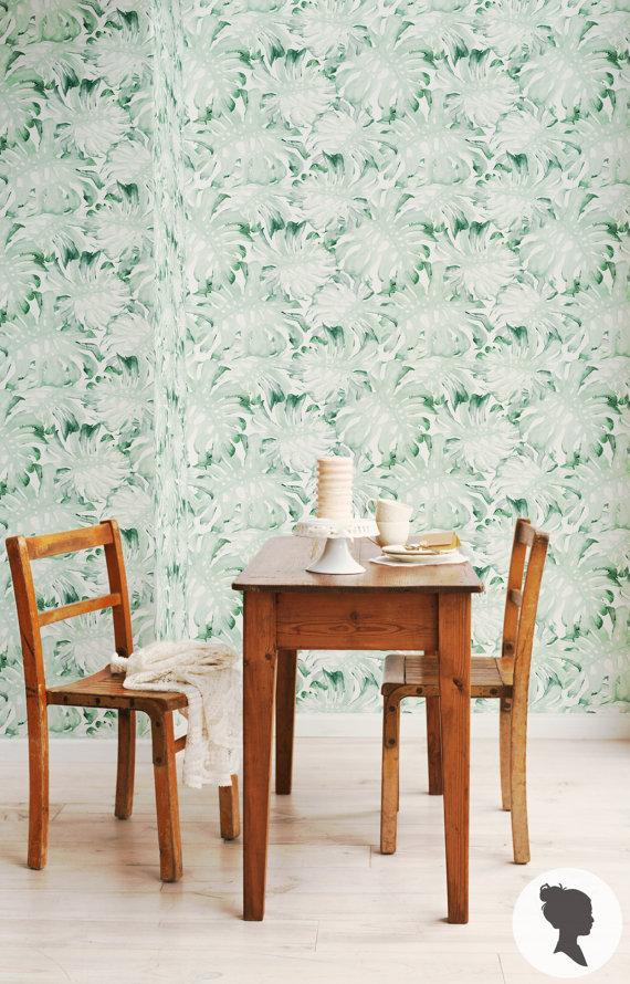Watercolor Palm Leaves Wall Mural Removable Wallpaper by Livettes 570x890