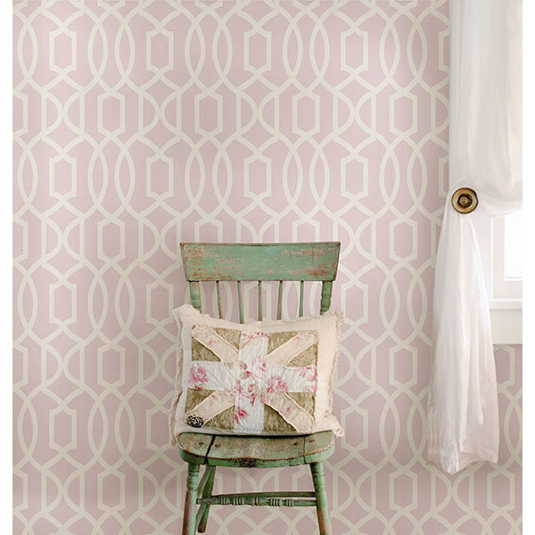 Pink Grand Trellis Peel And Stick Wallpaper   By NuWallpaper 600x600