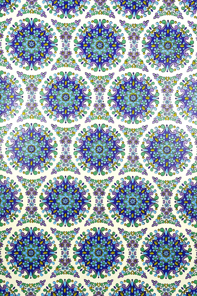 Blue Geometric Vintage Wallpaper 683x1024