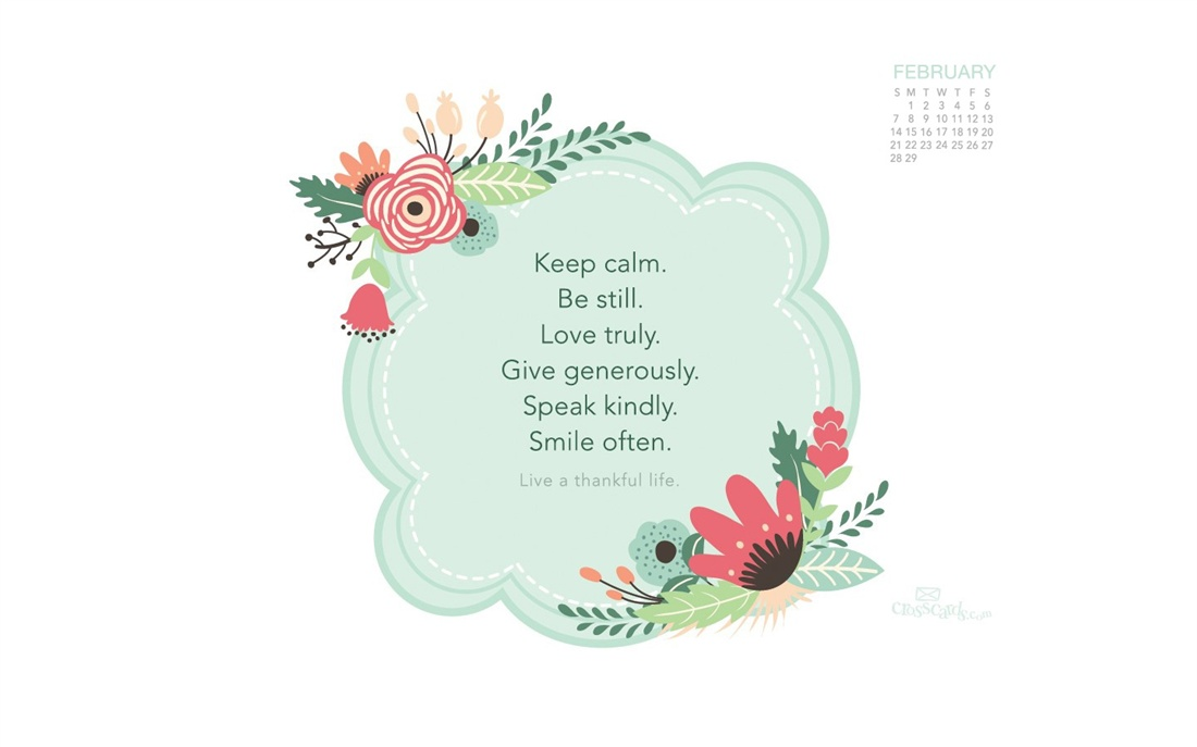 February 2016   Thankful Life Desktop Calendar  February 1100x687