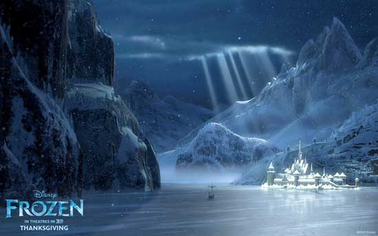 In this image the town of Arendelle is depicted frozen in beautiful 550x344