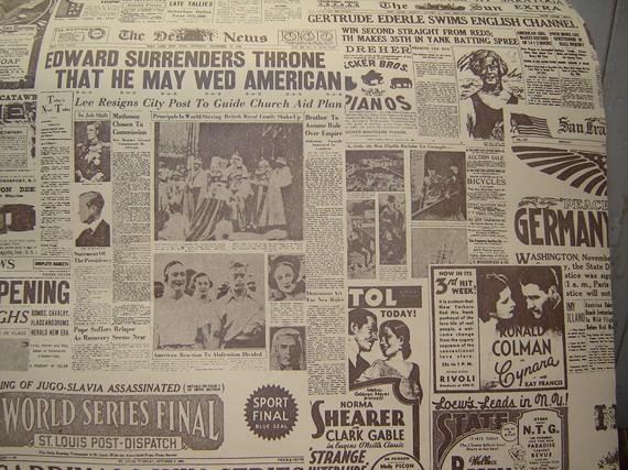 Roll Vintage Newsprint Wallpaper by WendysVintageShop on Etsy 570x427