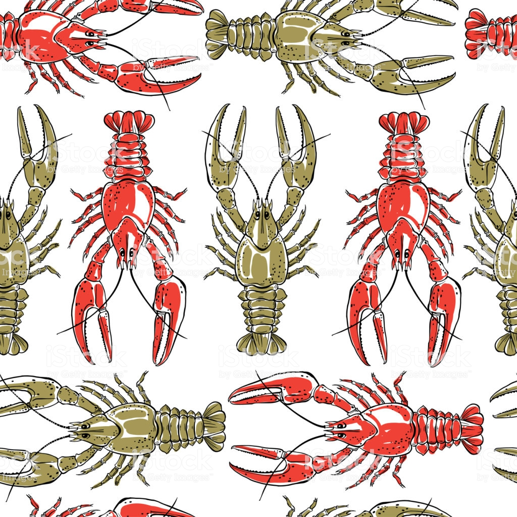 Seamless Pattern With Crawfish On A White Backgroundhand Drawn 1024x1024