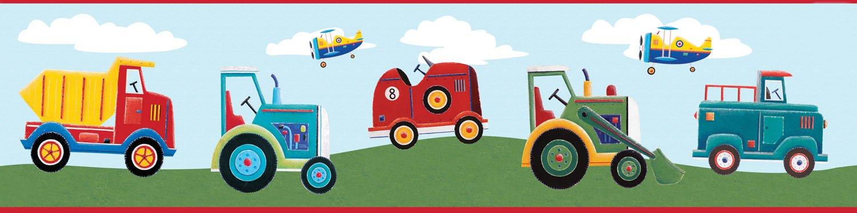 Transportation Trucks Tractors Airplanes Wallpaper Border 1500x375