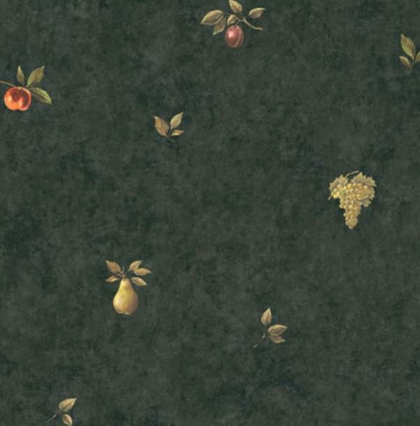 WALLPAPER BY THE YARD Old World Fruit Grapes on Black Faux Suede 600x609