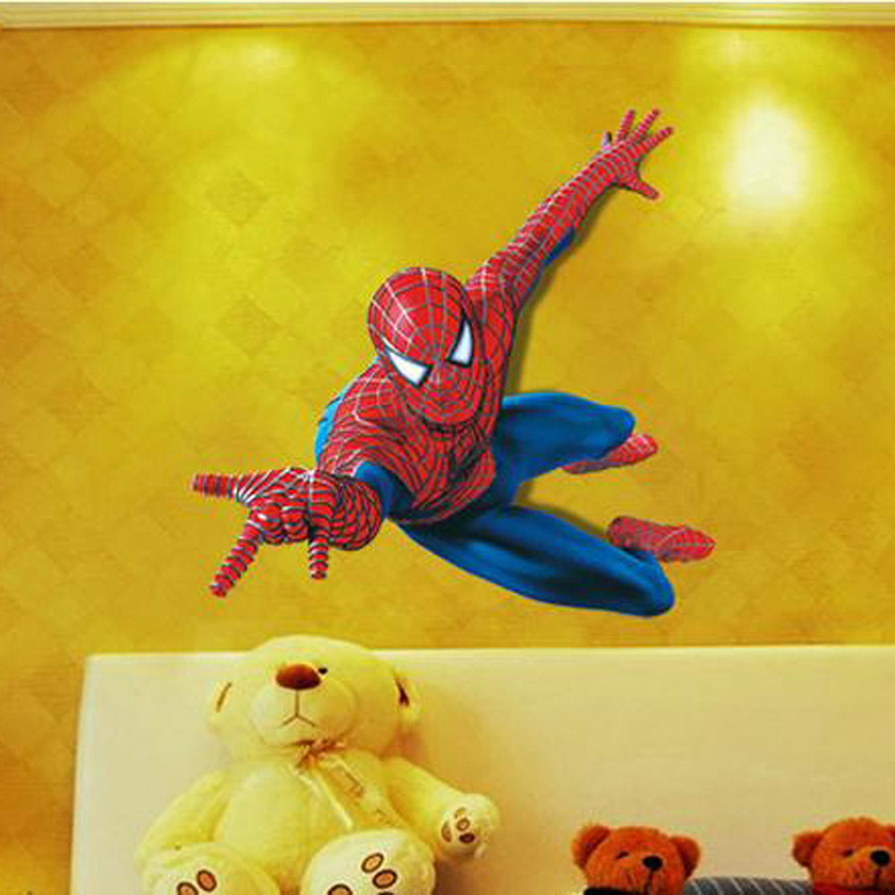 3D Spiderman Wall Stickers For Kids Rooms 11090cm Removable Superhero 1000x1000