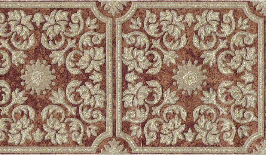 Leaf Tiles Patina Copper Brown Gold Embossed Wallpaper Border eBay 885x516