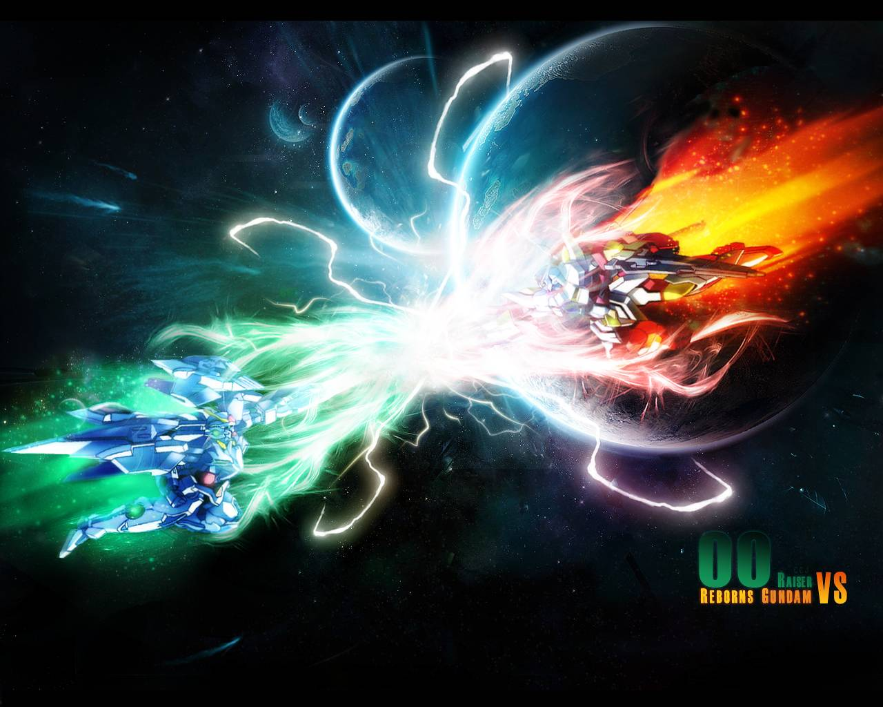 double o raiser vs reborns gundam   Gundam 00 Wallpaper 1280x1024