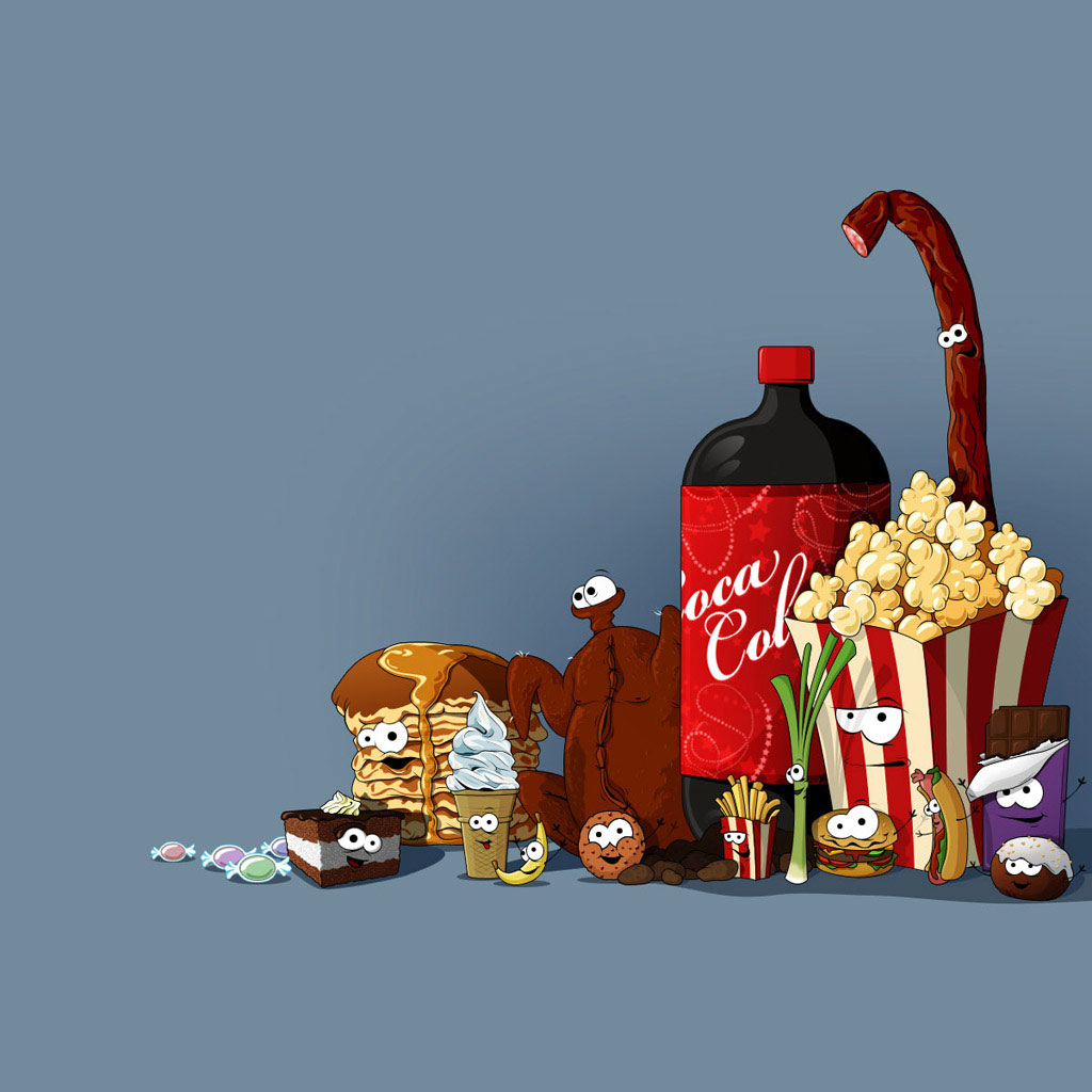 Cute Cartoon Food Backgrounds Cartoon feast ipad wallpapers 1024x1024